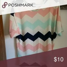 Dolman sleeve chevron pattern sweater GUC, worn only a couple times, quarter length dolman sleeves, very soft, some pilling, great transition piece for fall sz.med. Rue 21 Sweaters Crew & Scoop Necks