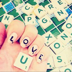 L O V E nails. Scrabble design with message. Easy to do. Pretty nails. Love you!