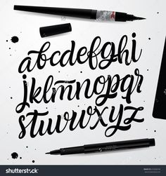 Find Handwritten Script Font Hand Lettering Custom stock images in HD and millions of other royalty-free stock photos, illustrations and vectors in the Shutterstock collection. Thousands of new, high-quality pictures added every day. Script Alphabet, Hand Lettering Alphabet, Doodle Lettering, Calligraphy Letters, Typography Letters, Brush Lettering, Lettering Design, Lettering Tutorial, Alfabeto Tattoo