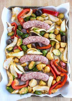 Lisa's Dinnertime Dish: Sheet Pan Dinner with Bratwurst and Roasted Vegetables