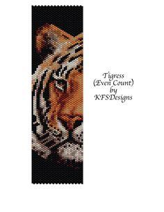 Peyote Stitch Bracelet Pattern - Tigress (Buy 2 Patterns - get a 3rd. pattern FREE)