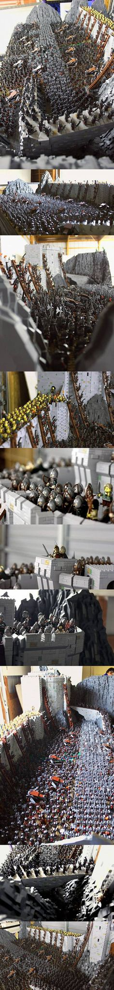 Lord of the Rings Battle of Helm\'s Deep Recreated with 150,000 LEGO Bricks
