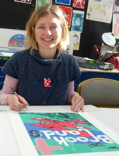Helen Locke with her winning design - to commemorate the 100 year anniversary of the Great War, APS (Arts Partnership Surrey) commissioned Ochre Print Studio to produce four original screen prints. Artists from across Surrey and beyond were invited to submit designs for consideration as an edition of forty prints.