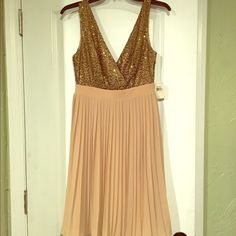 """Selling this """"Beige and gold sequin cocktail dress"""" in my Poshmark closet! My username is: mandawawa. #shopmycloset #poshmark #fashion #shopping #style #forsale #MM Couture #Dresses"""
