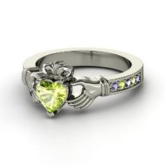 Claddagh Ring, Heart Peridot Sterling Silver Ring with Peridot ... love love love