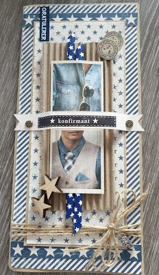 min lille scrappe-verden: Konfirmantkort til gutt Marianne Design, I Card, Stampin Up, Envelope, Challenges, Birthday, Frame, Prints, Scrapbooking