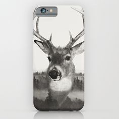 Whitetail Deer Black and White Double Exposure iPhone & iPod Case