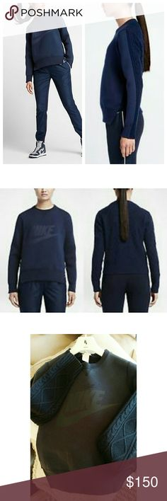 Nike x Sacai Cable Back Sweater Sweatshirt Exclusive collaboration between NikeLABs and Sacai- Limited Edition. Thick sweatshirt front with Nike logo, loose cable knit back. Comes with an attached canvas garment bags. It has never been worn, NWOT, comes with attached bag and original hanger. However, there is an imperfection on the front, which gives it a distressed look but looks like it could be part of design (pic 3); also some slight pilling on sweater part from storage. However, despite…