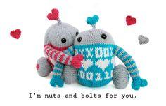 Mochimochi Luvbots are programmed for hugging! #knitting #amigurumi #valentinesday