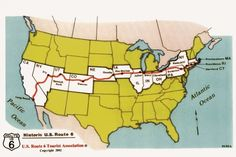 What to do on Route 6, the only continuous highway to cross the US  (image: Map of USA with Route 6 in Red from Massachusetts to California)