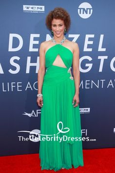 #PaulaPatton was hard to miss in this bright green cut out halter ruffles #gown at the AFI Life Achievement Award Gala.