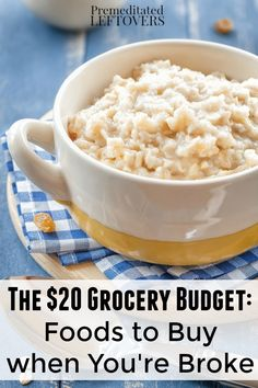 The $20 Grocery Budget- Here is a list of low-cost foods that you can buy to make quality meals, along with tips on how to stretch a small food budget.
