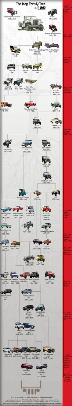 The Jeep Family Tree isn't quite as straightforward as you'd think. Take a look at the lineage of the Jeep with this Jeep Family Tree by Jeep Willys, Jeep Wj, Jeep Truck, Jeep Wrangler, Jeep Wagoneer, Willys Wagon, Auto Jeep, Jeep Pickup, Pickup Trucks