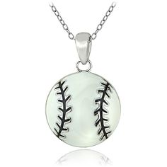 Mondevio Sterling Silver Enamel Baseball Necklace ($14) ❤ liked on Polyvore featuring jewelry, necklaces, white, pendant chain necklace, enamel necklaces, rolo chain necklace, baseball necklace and white necklaces