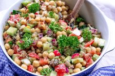 Creamy Chickpea Avocado Salad makes the perfect complete protein + veggie packed lunch or side! One of my favorite Summer salads. Vegan, Gluten Free, Oil Free.