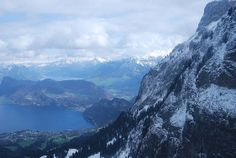 View from Pilatus towards Lake of Lucerne, with Hergiswil in the left foreground