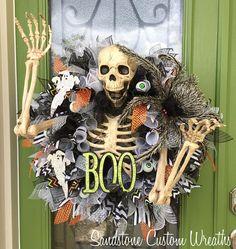 Skeleton Halloween Mesh Wreath Skeleton Halloween Wreath