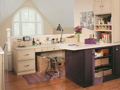 My attic needs this space. 10 Gorgeous Hobby Rooms You Need in Your Life Purple Cabinets, Meditation Rooms, Kitchen Cabinet Styles, Room Tiles, Stylish Kitchen, Home Office, Office Decor, Office Spaces, Work Spaces