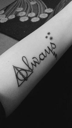 Always Tattoo Source Ankle Tattoo Small, Ankle Tattoos, Mini Tattoos, Cute Tattoos, Tatoos, Tattoos For Women Small, Small Tattoos, Always Harry Potter Tattoo, Hp Tattoo