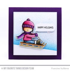 Handmade card from Francine Vuilleme featuring Pure Innocence Dashing By