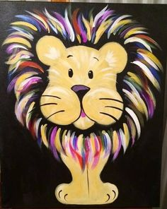 The Paint and Sip Experience - Garden City, NY Lion Painting, Easy Canvas Painting, Diy Canvas Art, Kids Paintings On Canvas, Rock Painting, Arte Country, Sidewalk Chalk Art, Kids Canvas, Lion Art