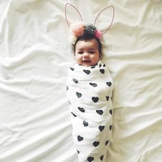 Oh my gosshhhh, sweetest little swaddled bunny baby!