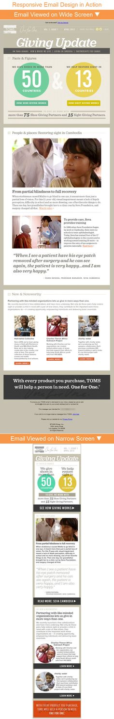Toms Shoes >> sent >> Introducing the TOMS Giving Update… Email Marketing Design, Email Design, Content Marketing, Newsletter Layout, Newsletter Design, Responsive Email, Mobile Responsive, Swipe File, Kids Toms