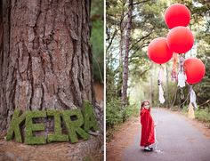moss letters and red balloons for a Little Red Riding Hood birthday party
