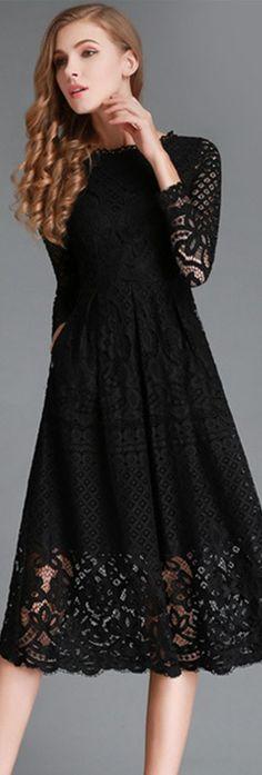 Black Lace Hollow-out Midi Dress
