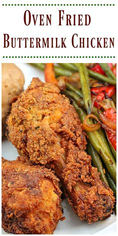 Oven Fried Buttermilk Chicken is tender and delicious. Better than take out…