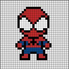 Perler Beads: Pixel images to help your creation! - Perler Beads: Pixel images to help your creation! Hama Beads Design, Hama Beads Patterns, Beading Patterns, Peyote Patterns, Perler Bead Art, Perler Beads, Hama Beads Disney, Fuse Beads, Spiderman Pixel Art