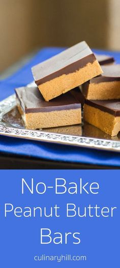 """No-Bake Peanut Butter Bars take only 5 ingredients and 10 minutes (plus chilling time). My Grandma calls them """"Almost Reese's"""" for good reason! Naturally gluten-free. #glutenfree #nobakepeanutbutterbars #nobakedesserts #glutenfreedesserts #culinaryhill"""
