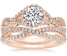 Rose Gold Entwined Halo Diamond Matched Set from Brilliant Earth Diamond Wedding Rings, Halo Diamond, Diamond Cuts, Wedding Band, Wedding Stuff, Engagement Ring Styles, Designer Engagement Rings, Pink Gemstones, Bridal Ring Sets
