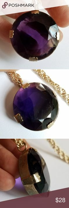 Vintage big Amethyst glass necklace gold tone gem This awesome vintage necklace has a glittery glass, Amethyst purple color gem set in gold tone metal. It is on a long pale gold color, lightweight metal chain. This necklace does have some condition issues (lots of wear to the back and sides of the pendant, light surface wear to the gem, and some patina to the clasp on the chain). Still beautiful when worn, the flaws are hidden behind the gem. From a smoke free home:)   8858gem8f6d Vintage…