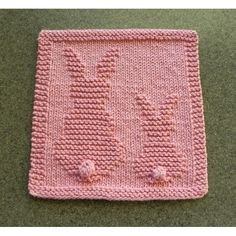 Hand Knitted Dishcloth with 2 Pink Bunnies made with cotton yarn from Aunt Susan's newest design. Perfect for fresh spring and Easter decor. Knitted Squares Pattern, Knitted Dishcloth Patterns Free, Knitting Squares, Knitted Washcloths, Knitting Patterns Free, Baby Knitting, Crochet Patterns, Dishcloth Crochet, Crochet Mandala