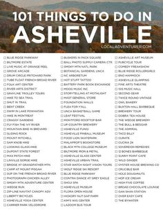 Ultimate Asheville Bucket List Things to Do in Asheville NC) 101 Things to Do in Ashevile NC - Ashville North Carolina, Ashville Nc, Travel Goals, Travel Advice, Travel News, Travel Quotes, Stuff To Do, Things To Do, Photo Supplies