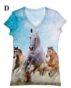 Women++PLUS+SIZE+white+horses+print+top+t+shirt+and+by+hellominky,+$33.95