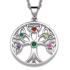 Family Birthstone Tree of Life Necklace - add up to 5 family member's birthstones. Mom's or Grandma's birthstone is in the center. Also available in gold. Family Tree Necklace, Tree Of Life Necklace, Tree Of Life Pendant, Pentacle, Grandmother Jewelry, Mom Ring, Mother Rings, Gifts For Your Mom, Birthstone Necklace