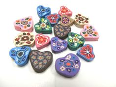 20 Fimo Polymer Clay  Flower Fimo Beads 25mm Variety Hearts 15mm-20mm. $7.99, via Etsy.