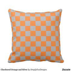 Checkered Orange and Silver Throw Pillow