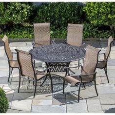 "Alfresco Home Charter Cast Aluminum 6-Seat Dining Set by Alfresco Home. $2219.99. 60 inch Round Kaleidoscope Dining Table with6 Sling Stackable Dining Arm Chairs, Table includes an umbrella hole. Sling Chairs are Quick Dry and do not absorb water.. 100% Cast Aluminum, No Rusting to Worry About, Chairs are fully assembled and stack for easy storage. Table: 60"" L x 60"" W x 29"" H; Chairs 26"" L x 29"" W x 44"" H. High Quality Powder coated frame. Alfresco Home is proud to be a..."