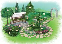 Как обустроить скамью на участке? скамейка,зона отдыха,живая изгородь,микбордер,альальпийская горка,пергола,лианы,мощение
