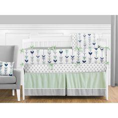 Sweet JoJo Designs Mod Arrow in Grey, Navy, and Mint 9 Piece Crib Bedding Set