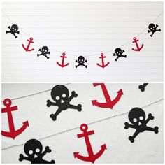 Pirate Garland  5 inch Anchor & 4.25 inch by FreshLemonBlossoms