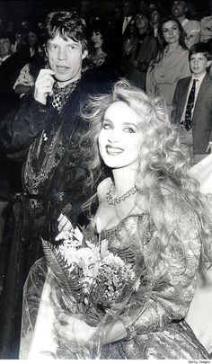 Jerry Hall and Mick Jagger on their wedding day, 1990