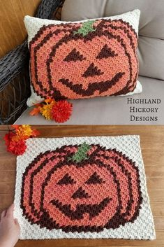 Crochet Projects Design Crochet the Pumpkin Pillow with this free Corner to Corner pattern. There is a plain pumpkin and a Jack-o'-lantern graph. Use to make many projects! Crochet Pumpkin, Crochet Fall, C2c Crochet, Holiday Crochet, Crochet Cushions, Crochet Quilt, Crochet Pillow, Free Crochet, Crochet Blocks