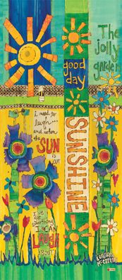 Good Day Sunshine 3' Art Pole with Lyrics by Lennon and McCartney by Stephanie Burgess Painted Peace for Studio M