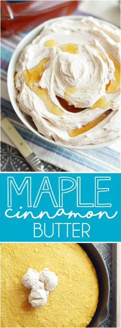 Creamy, sweet, unbelievable maple butter with a heavy touch of cinnamon. Similar to the honey butter served at Texas Roadhouse, but the maple gives it a perfect Fall time flavor!