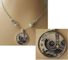 Silver Steampunk Owl Pendant Necklace Jewelry Handmade NEW Accessories #Handmade #Pendant