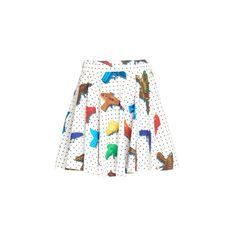 Jeremy Scott Water Gun Skirt (51.595 HUF) ❤ liked on Polyvore featuring skirts, jeremy scott, white, cotton skirts, polka dot a line skirt, cotton mini skirts, polka dot pleated skirt and pleated skirt